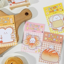 30 páginas saboroso pão n vezes bloco de memorando notas pegajosas bonito bookmark papelaria etiqueta adesivos material escolar presente bloco de notas kawaii
