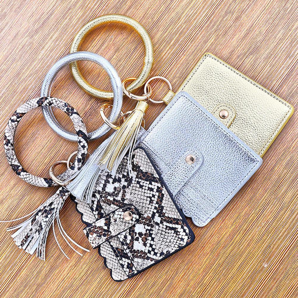 New Creative Keychain Leopard Print PU Leather Tassel Holder Chain Jewelry Purse Bag ID Clutch Key C