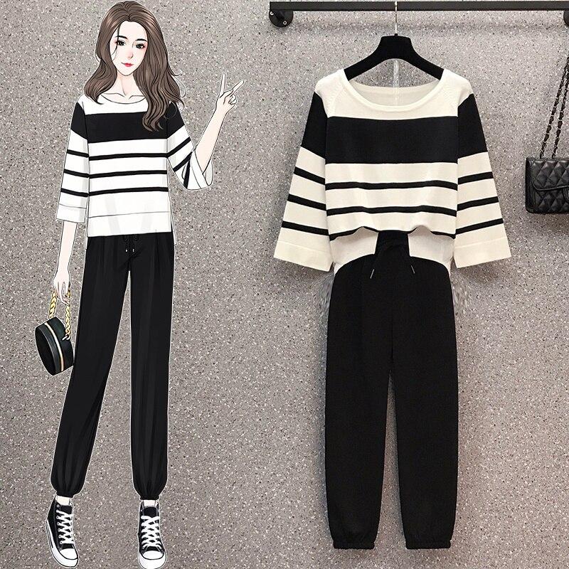 Spodnie garnitury 2021 jesień nowy duży rozmiar gruby dziewczyna w paski 3/4 rękaw dzianinowy Top przycięte spodnie dwuczęściowy zestaw