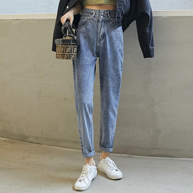 Harem Denim Pants Womens Korean Style Jeans Loose Casual Irregular Waist Lady Design Soot Female Harajuku Trousers Free Shipping