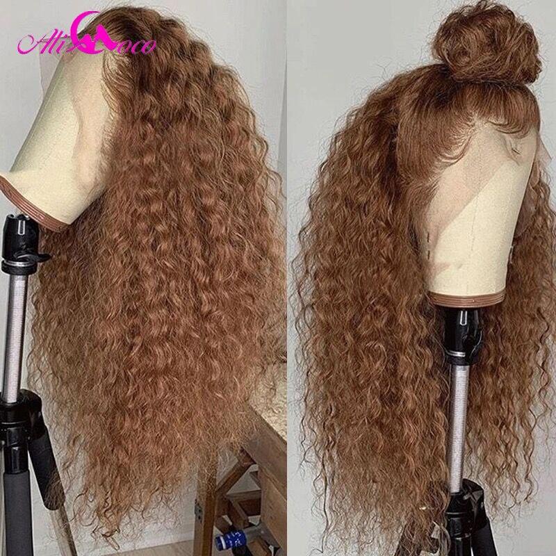 Ali Coco 13x4 kręcone ludzkie włosy koronki przodu peruk 180% #27 blond/pomarańczowy imbir kolor Ombre ludzkich włosów peruki wstępnie oskubane