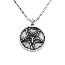 Nouveau mode jésus Satan collier rond étoile Baphomet jésus croix en acier pendentif satanique gothique collier Vintage hommes bijoux cadeau