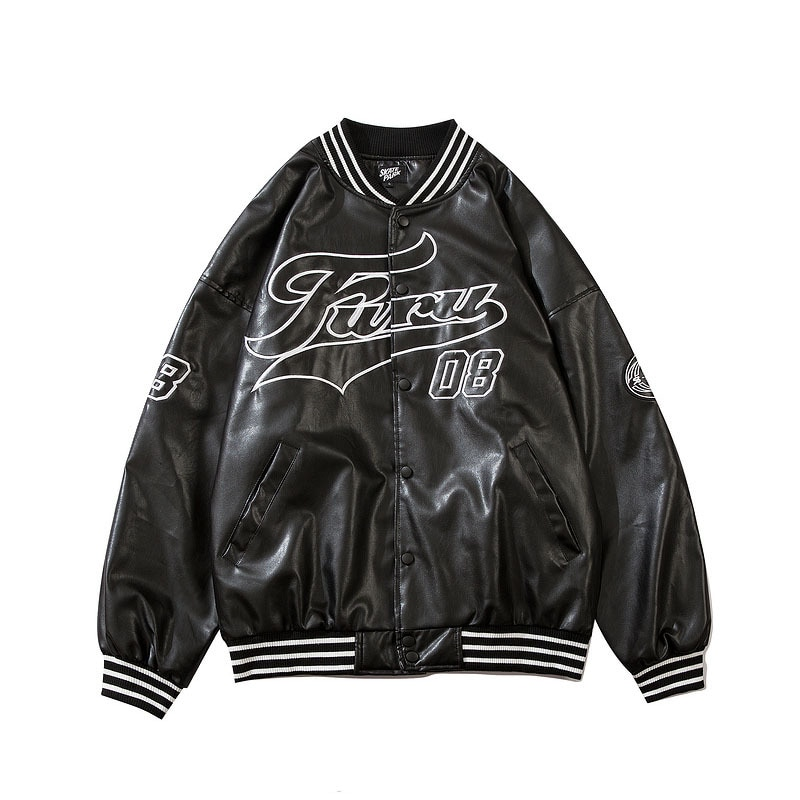 KIOVNO Men Baseball Leather Jackets And Coats Embroidery Pilot Outwear Tops Male Streetwear Spring