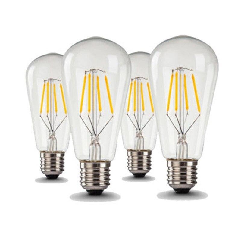 4 шт./лот ST64 4 Вт светодиодные лампы в стиле ламп накаливания E27 360LM светодиодные лампы Эдисона теплый белый свет, холодный белый цвет COB лампа ...