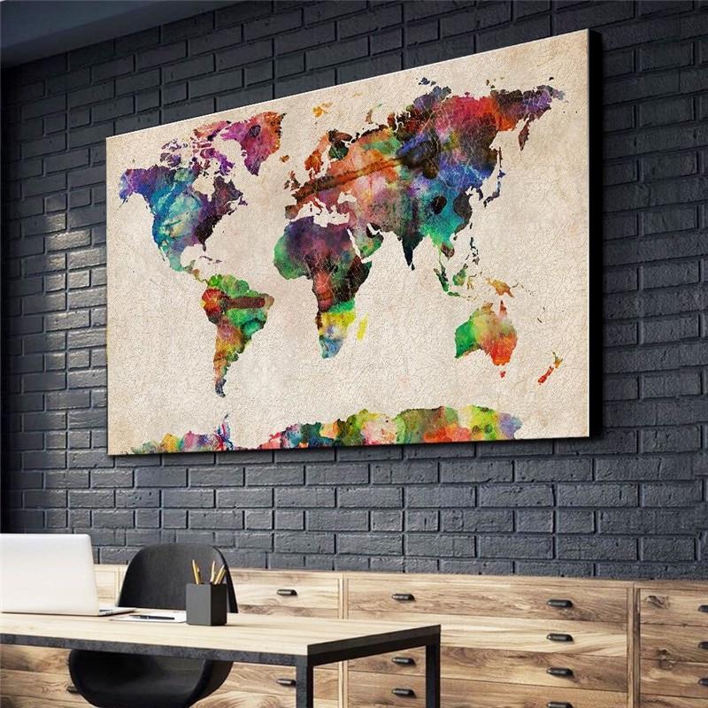 Póster de mapa abstracto Para decoración del hogar, pintura en lienzo, imagen minimalista, imágenes de pared, Na Sciane plaaty, Cuadros Modernos Para salón