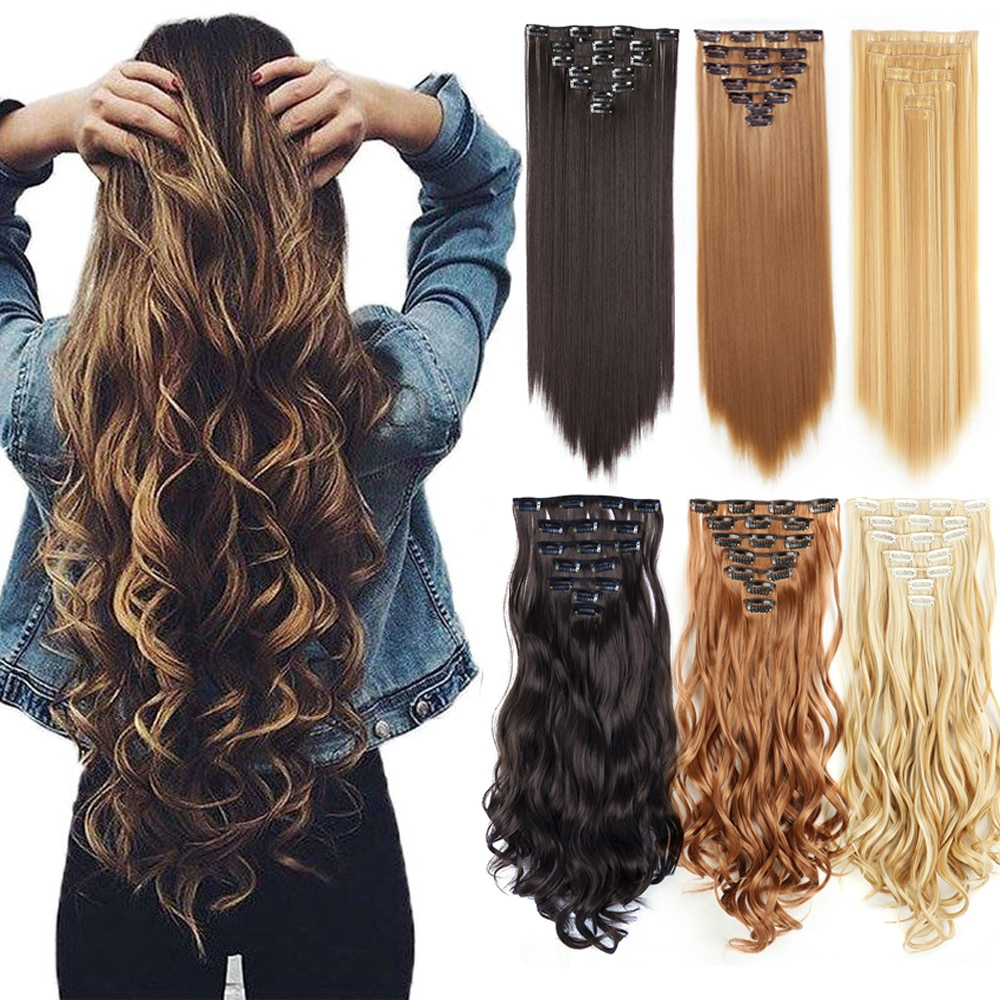 Straight Clip In Hair Extensions 16 Clips Synthetic Hair Extension Body Wave Fringe Fake Hair Pieces Natural Hairpiece for Women