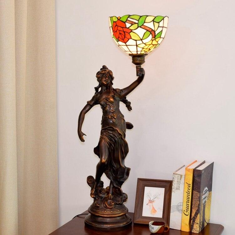 Rojo y amarillo Rosa retro chica Ángel diosa luz LED Tiffany vitral sala de estar comedor dormitorio mesita de noche lámpara de mesa