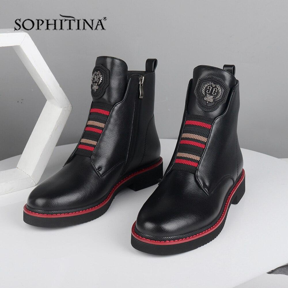 سوفيتينا الفراء الصوف حذاء من الجلد عالية الجودة جلد طبيعي مريحة أحذية كعب مربع الدفء جولة تو أحذية الشتاء SC526