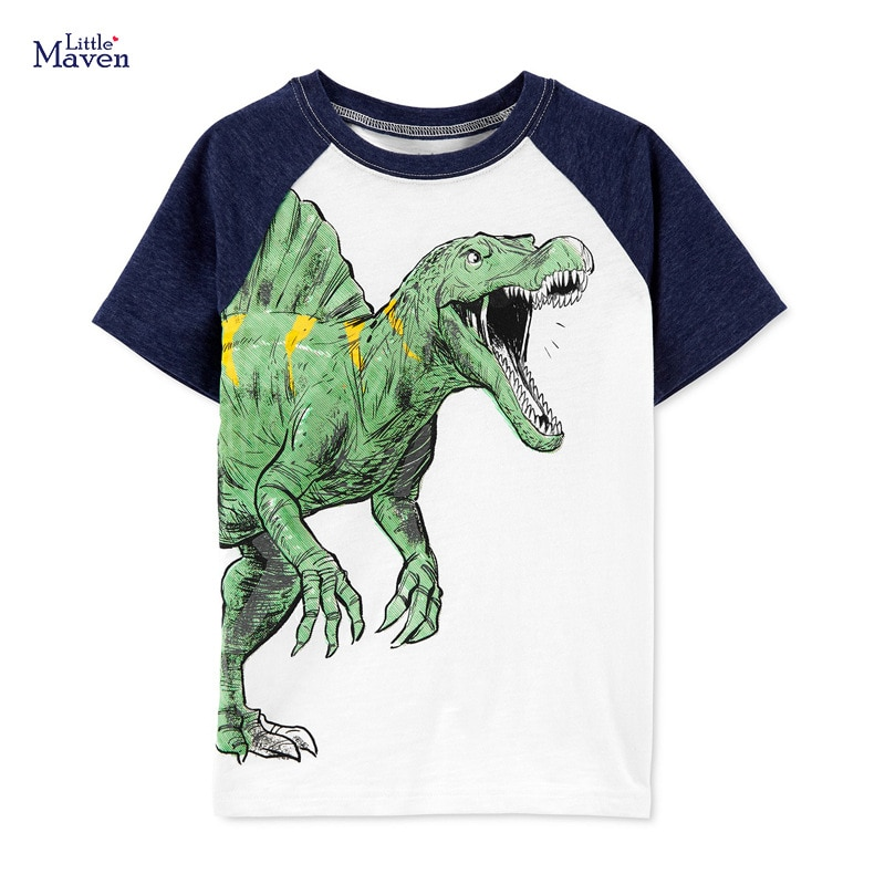 Little Maven New Summer Kids Dinosaur Drawing Tyrannosaurus Rex Printed O-neck Short- sleeved Cotton Knitted Boys Casual Tshirts