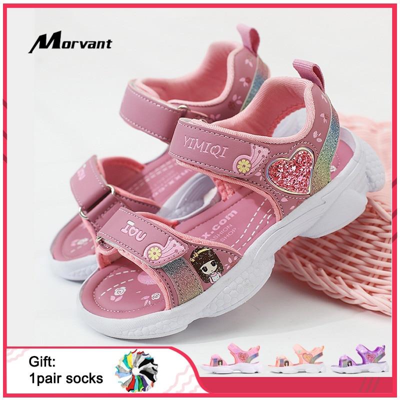 Детские сандалии для девочек, мягкие босоножки принцессы, легкая обувь с блестящим принтом, удобные летние детские босоножки Сандалии    АлиЭкспресс