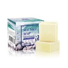 Sel de mer Base de savon enlèvement bouton Pores traitement de lacné nettoyant hydratant lait de chèvre lavage du visage avec cadeau bulle Net TSLM1