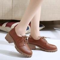 autumn new fashion oxfords women shoes female lace up pu leather plus size casual shoes woman platform high heels ladies shoes