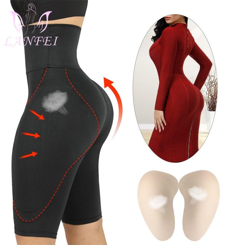 LANFEI Womens Fake Ass Panties Elastic Sponge Pad High Waist Trainer Body Shaper Thigh Slim Tummy Control Butt Lifter Shapewear