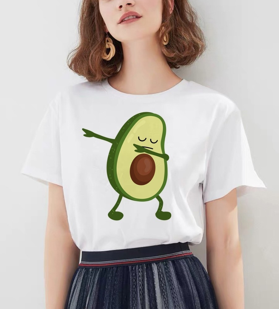 Fashion Avocado Vegan T Shirt Women Streetwear Short Sleeve Fun Ulzzang T-Shirt Cute Vogue Tshirt Cartoon Tee Female Summer Tops