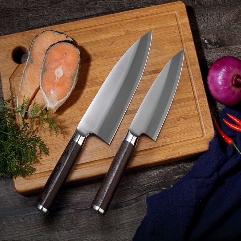 Cuchillos de cocina de acero inoxidable, cuchillos profesionales, cuchillo de carnicero, rebanador,...