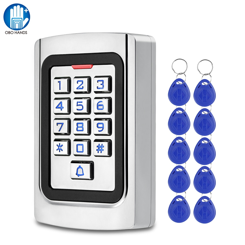 IP68 للماء التحكم في الوصول لوحة المفاتيح RFID لوحة المفاتيح المعدنية EM بطاقة قارئ لباب نظام مراقبة الدخول في الهواء الطلق + 10 قطعة سلاسل المفاتي...