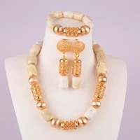fashion costume necklace white african coral beads jewelry set for nigerian wedding c43 04