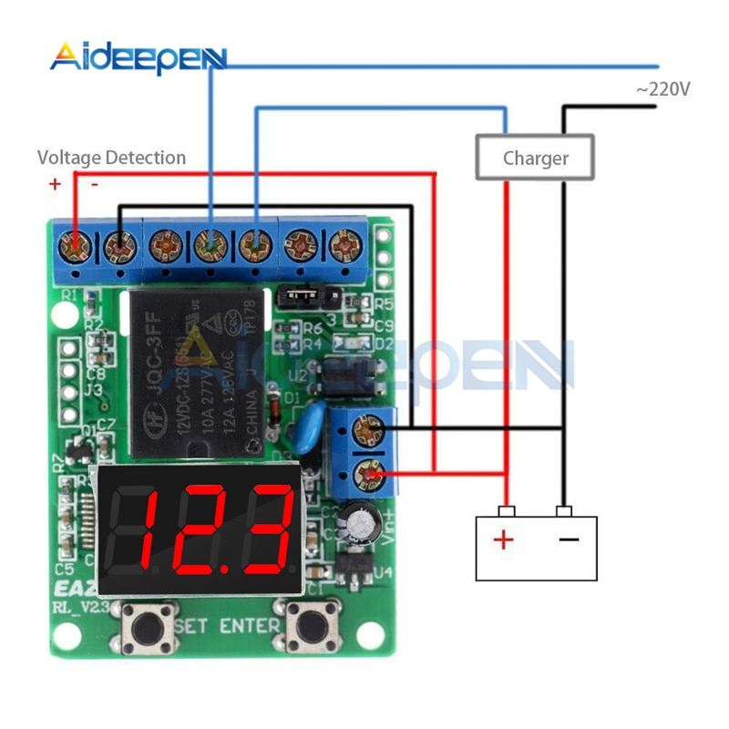DC 12V 24V LED Digital Relay Switch Control Board Module Relay Module Voltage Detection Charging Dis