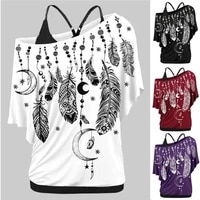 women shirts blouses summer 2021 feather print one shoulder top casual ladies sexy tops skew neck shirts blouse