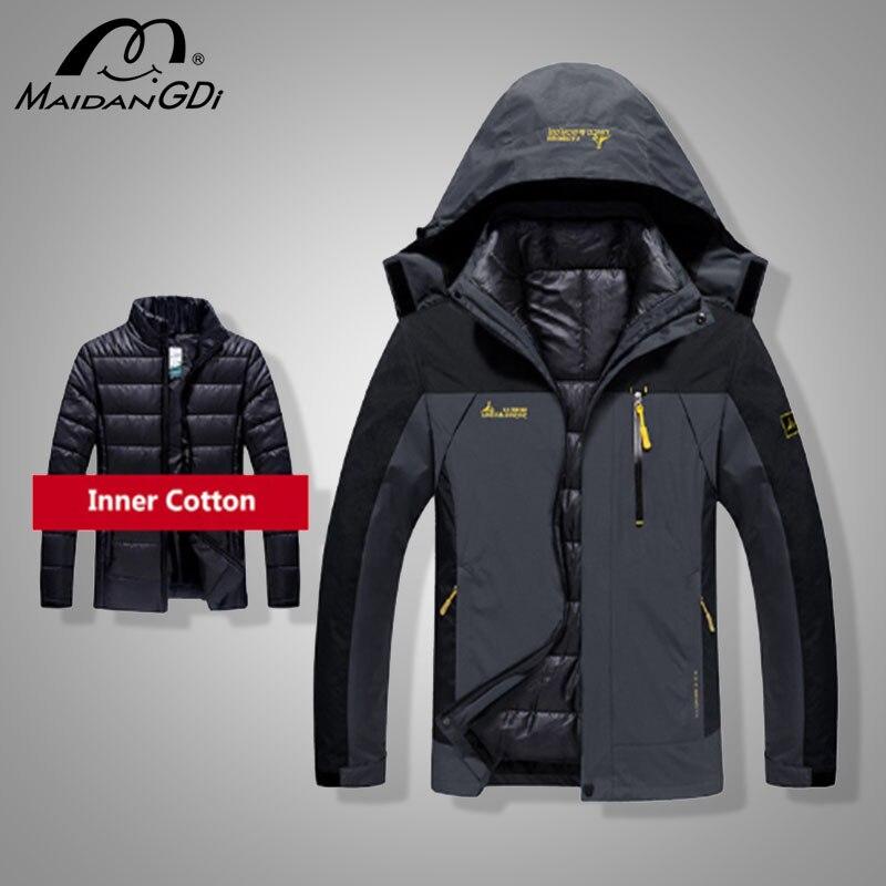 Men's Coats 2021 Winter New Down Jacket Men Fashion 2 in 1 Outwear Thicken Warm Down Parka Patchwork Waterproof Hood Men Coats