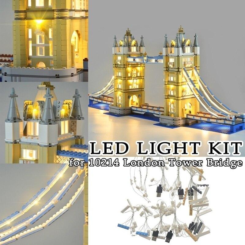 Iluminación LED para la decoración del puente de La Torre de Londres 10214 ladrillos de Juguetes de bloques de construcción juguete con luces decorativas ladrillos