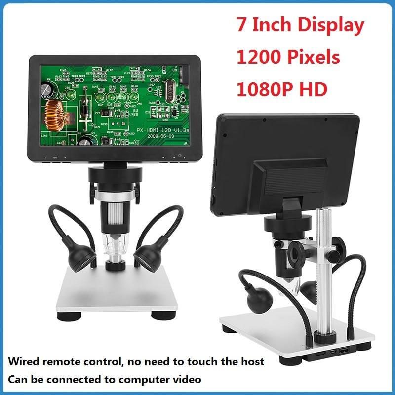 1200X 7 بوصة USB مجهر الكتروني رقمي HD 1080P المكبر ستيريو المنظار كاميرا فيديو مجهر المجلس الصناعي Repai