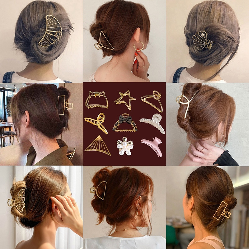2021 New Simple Alloy Elegant Hair Claw Clips Makeup Hair Styling for Women Trip Barrettes Hair Acce