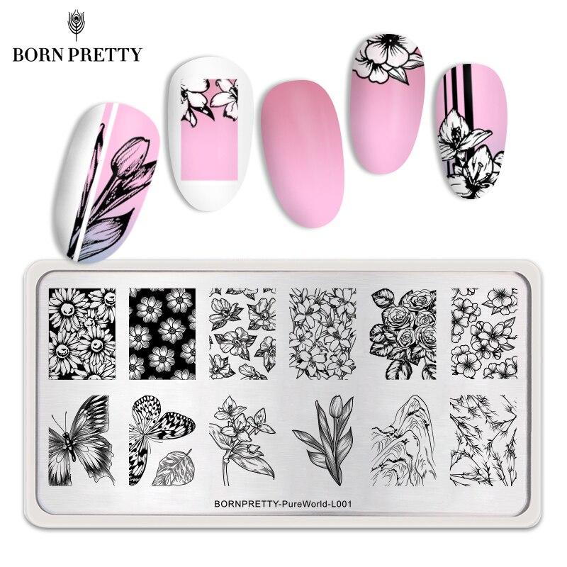 Прямоугольные пластины для стемпинга ногтей BORN PRETTY, цветочные бабочки, смешанный узор, инструменты для дизайна ногтей, трафарет