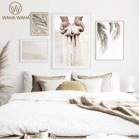 Peinture sur toile a la mode  main dans la main  feuille beige  affiche imprimee  toile murale dartiste  decoration de maison  peinture murale de salon