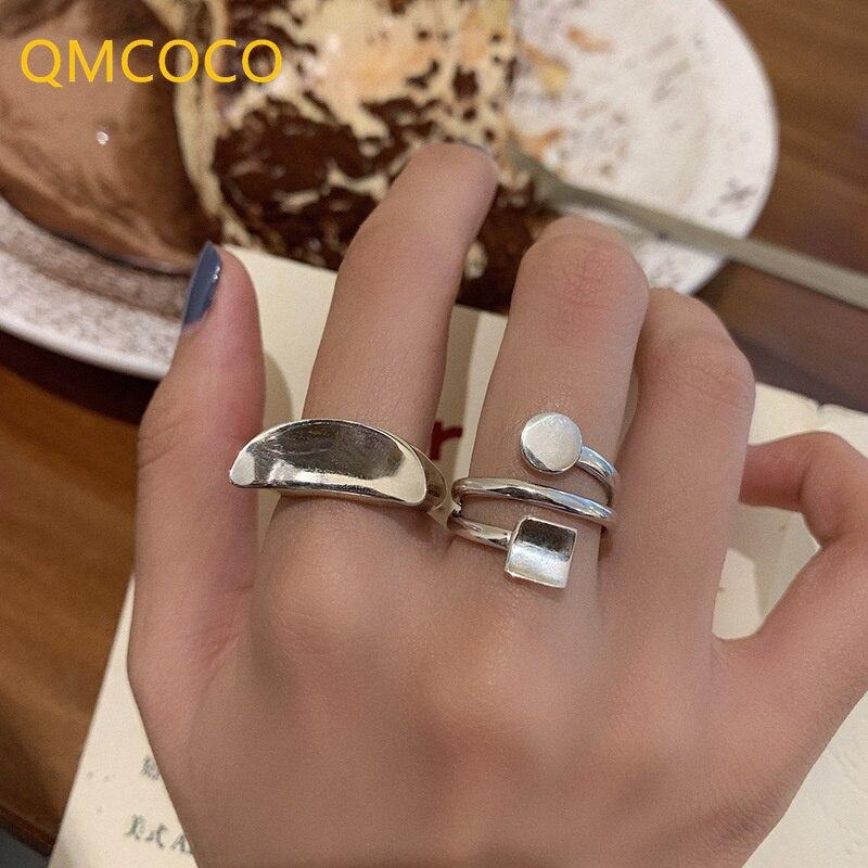 qmcoco-925-Серебро-Геометрические-глянцевые-открытые-Регулируемые-кольца-простой-текстуры-ретро-Луна-тренд-для-женщин-ювелирные-украшения