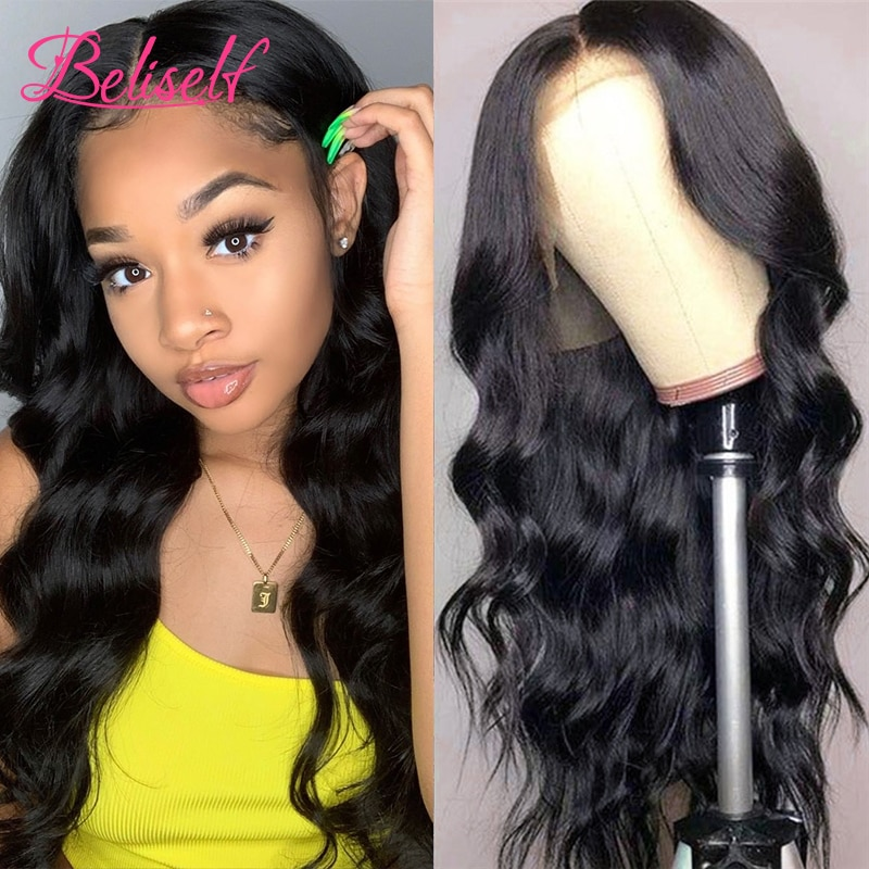Beliself Brazilian Hair Body Wave 13x4 Lace Front Human Hair Wigs For Women Lace Frontal Wig Pre Plucked Hairline 180 Density