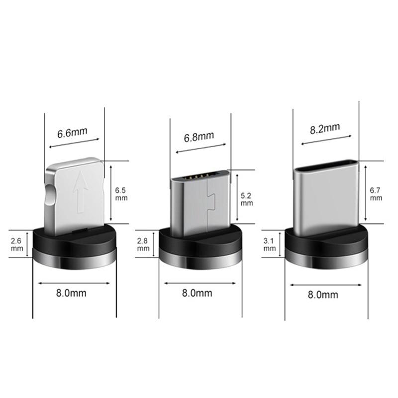Магнитный кабель Micro USB 1 м для iPhone, Samsung, Android, быстрая зарядка USB Type C, Магнитный зарядный провод, шнур-5