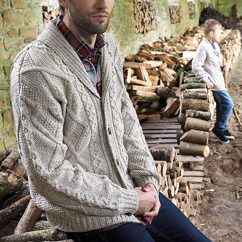 Мужской Повседневный Кардиган вязаный свитер с карманами на пуговицах