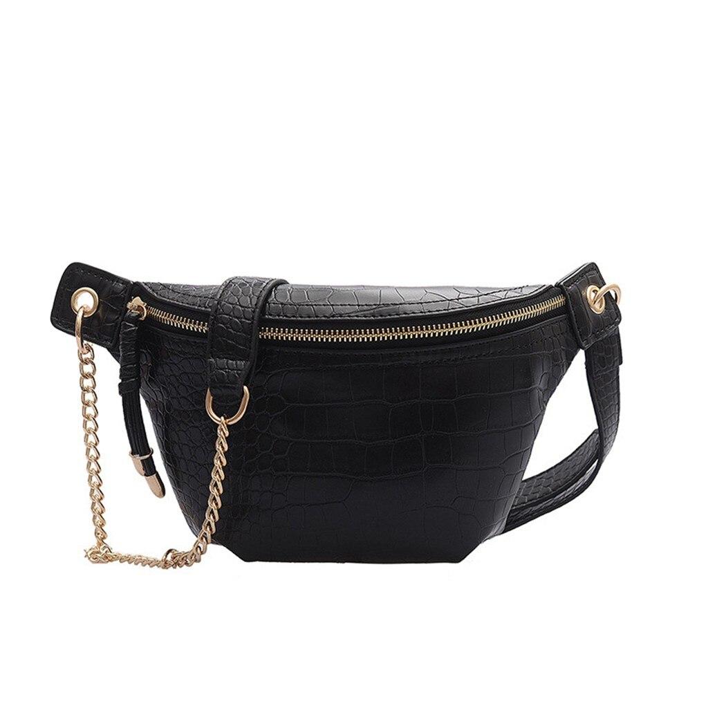 Aelicy mulheres sacos de peito moda corrente couro saco do mensageiro bolsa de ombro feminino grande capacidade zíper telefone dinheiro cintura packs 18