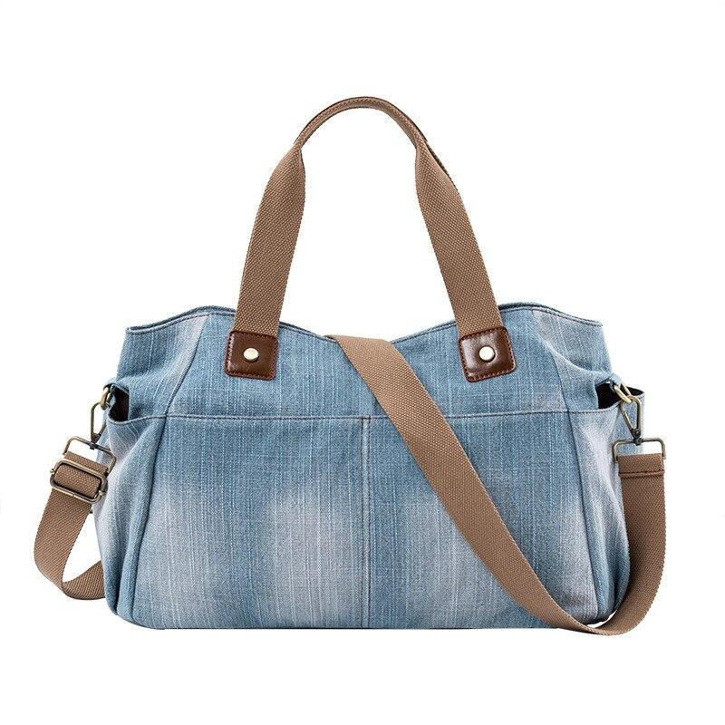 Casual denim bolsa feminina grande capacidade de alta qualidade jeans feminino bolsa de ombro grande totes bolsa de viagem senhoras crossbody sacos azul