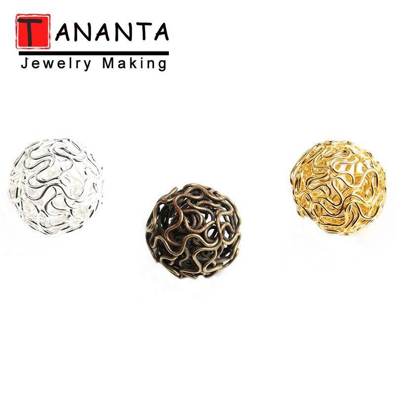 Bola de Metal Twist Wire, bola hueca de filigrana, 18mm, 20 uds, cuentas redondas de Color dorado y plateado para hacer joyas, Pendientes colgantes, manualidades DIY