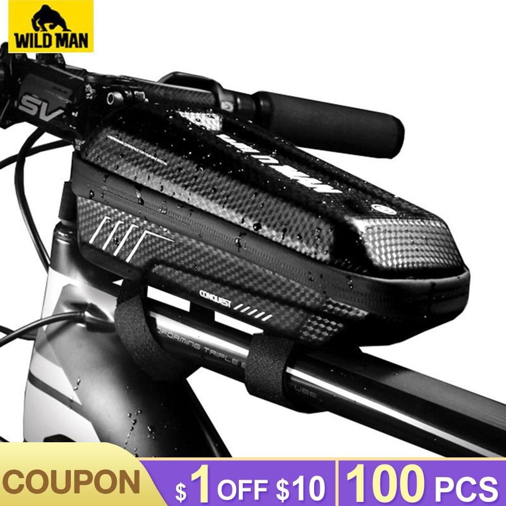 WILD MAN Bicycle Bag Waterproof Top Tube Mountain Bike Bag Mtb Front Bags Handlebar 6.2'' Mobile Phone Case Cycling Accessories