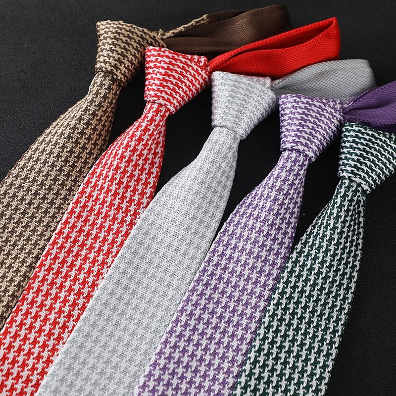 New Fashion Male Knit Tie Brand Skinny Slim Designer Mens Knitted Neck Ties Cravate Narrow Skinny Neckties For Men Neckwear
