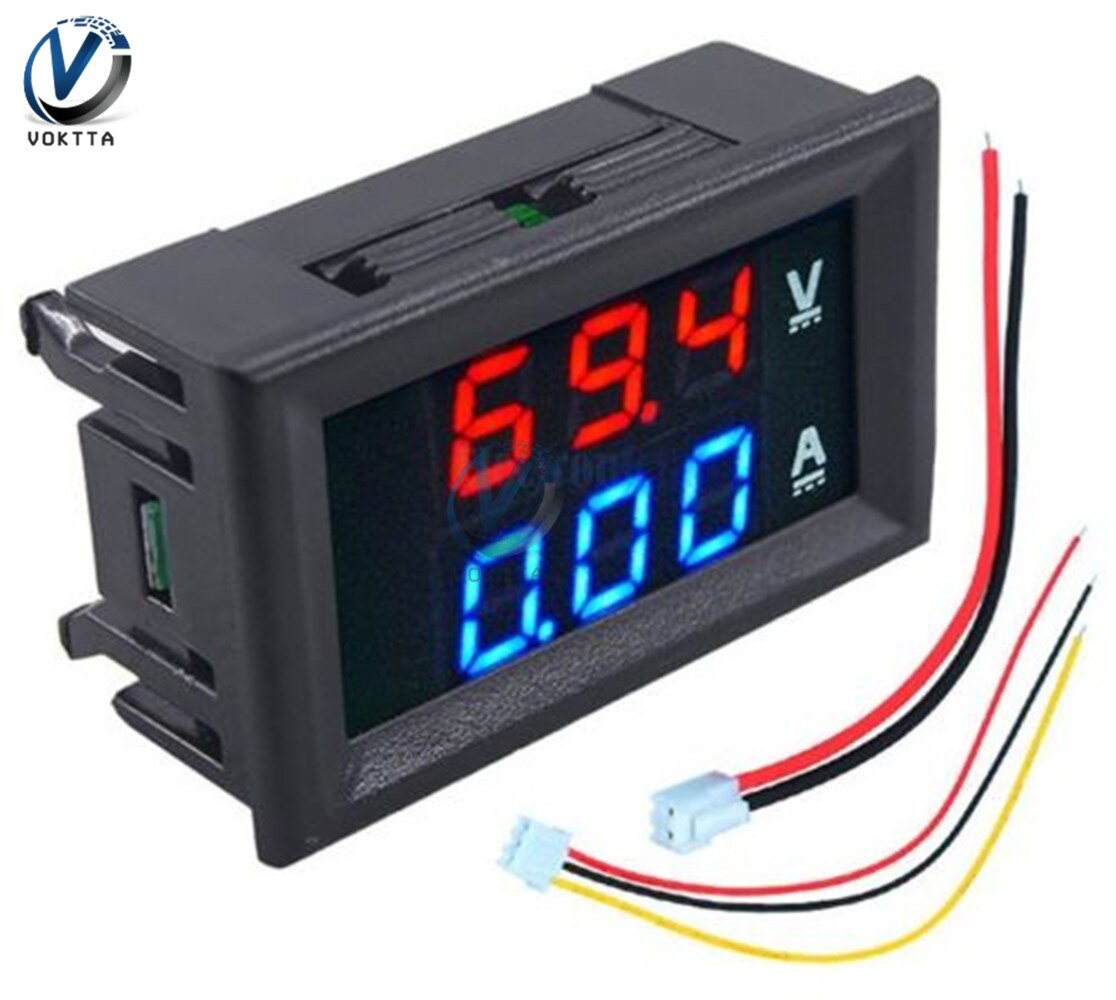 Mini 5 Wire M4430 Digital Voltmeter Ammeter DC 100V 200V 10A Dual LED Panel Display Amp Volt Voltage Current Meter Tester недорого
