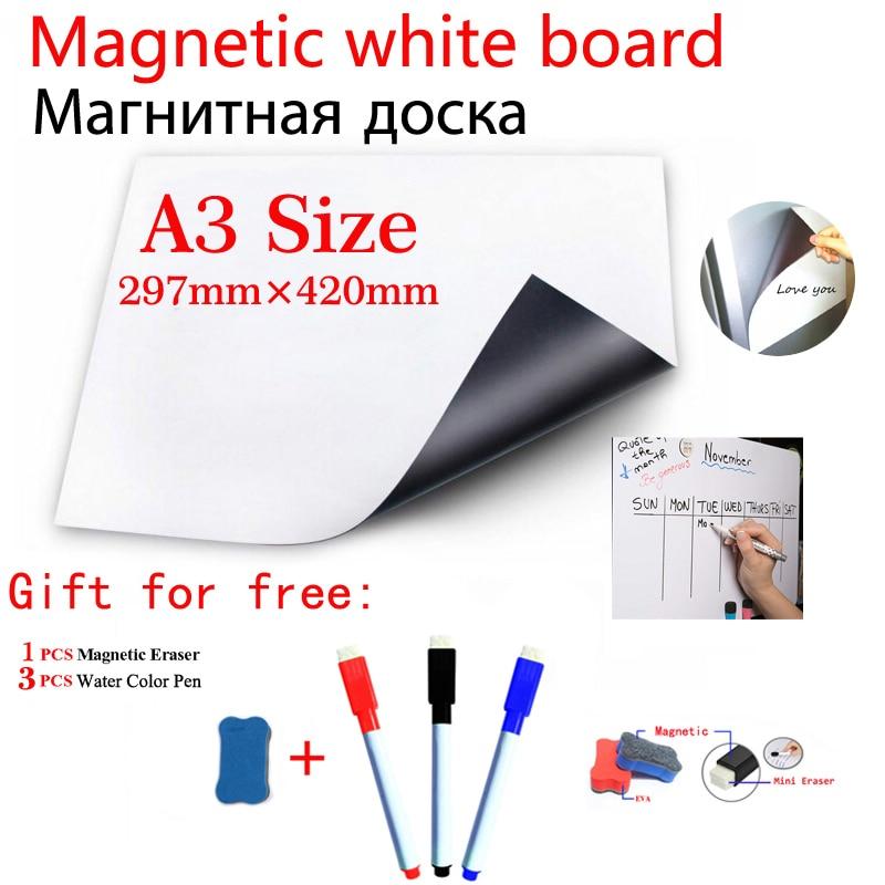 A3 Size Magnetic Whiteboard Magnet Dry Erase White Boards Fridge Sticker Flexible Vinyl Home Office Kitchen 3 Pens 1 Eras
