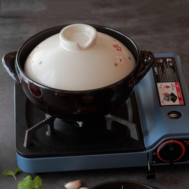 Olla de cerámica tradicional pintada a mano, resistente al calor, sopa profunda, arroz, barro, olla de barro