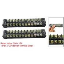 Sodial (R) Dual Row 12 Positie Shining Vaste Barrier Terminal Block 600V 15a
