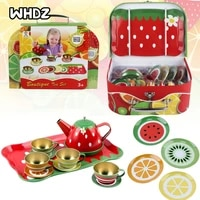 1set kids fruit themed tin tea party toy set metal teapot and cups for childrens kitchen pretend play