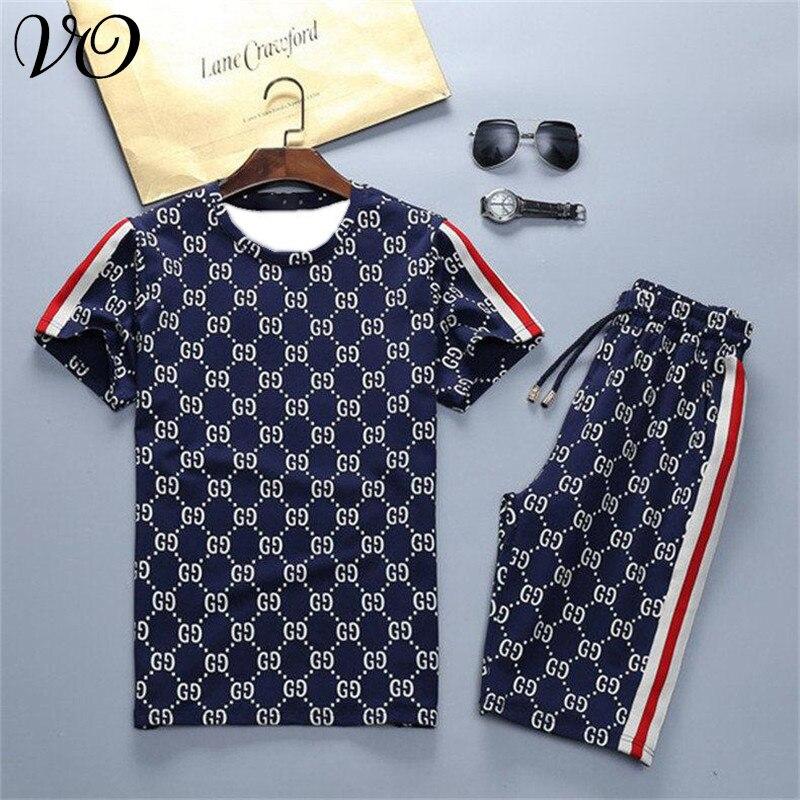 Streetwear Summer Fashion Men's Casual Suit Trendy Fitness Sportswear Jogger Round Neck Short Sleeve T-shirt + Men's Shorts