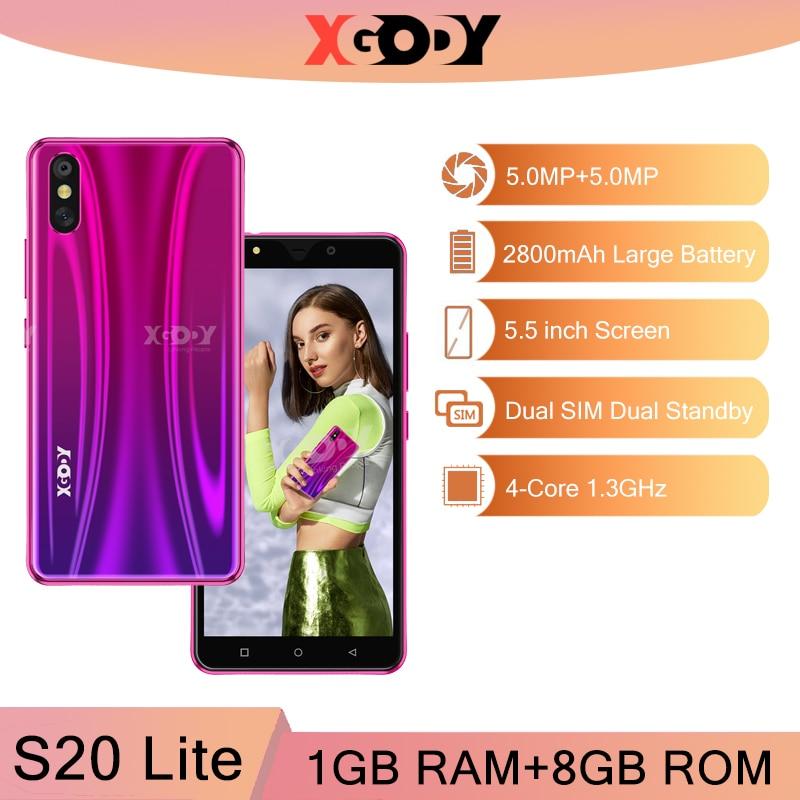 XGODY S20 Lite 3G Smartphone 1G 8G Android Unlock Mobile Phones 5MP Camera GPS WiFi Cellphone Quad Core 5.5 inch Dual SIM 2020