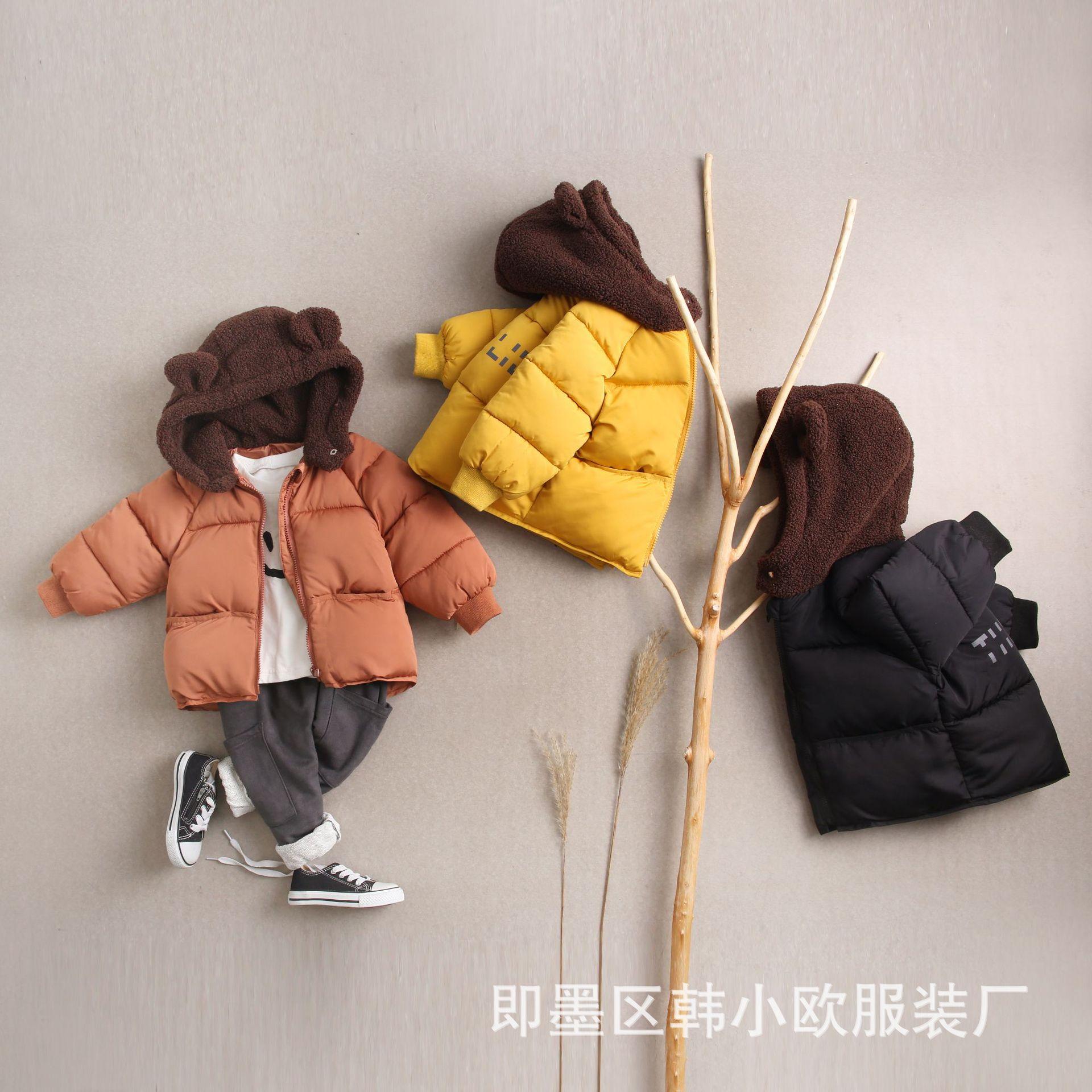 winter new cute hat boys and girls cotton clothing children girls winter coat  boy winter jacket coat