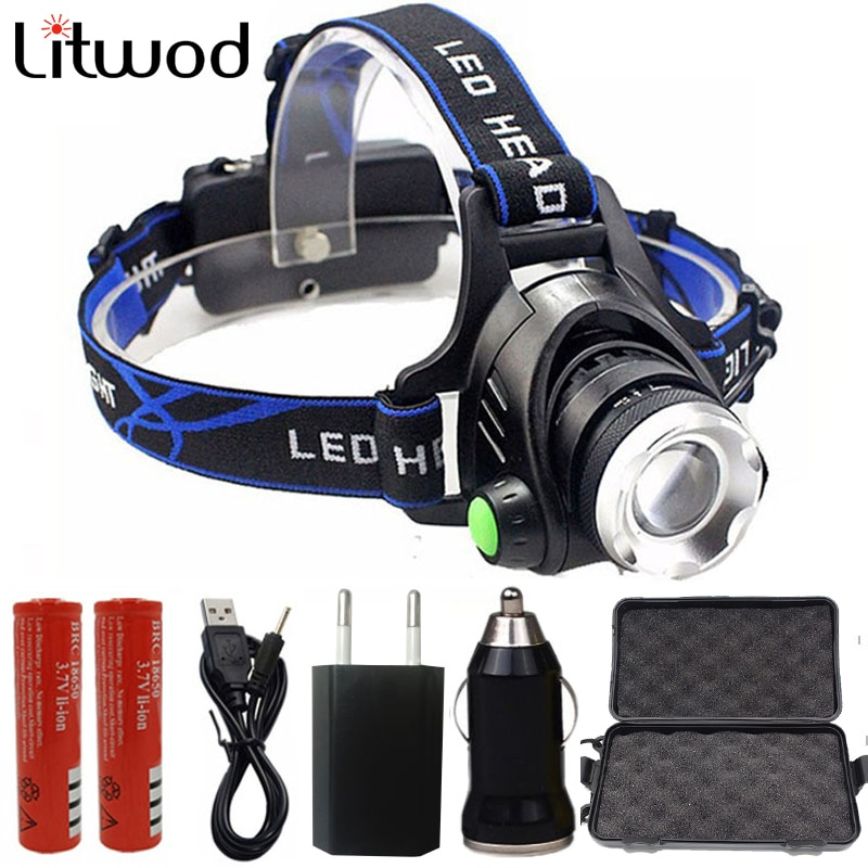Litwod z20 led xml l2 led farol zoom ajustável cabeça lâmpada lanterna tocha uso 18650 bateria frente luzes da noite