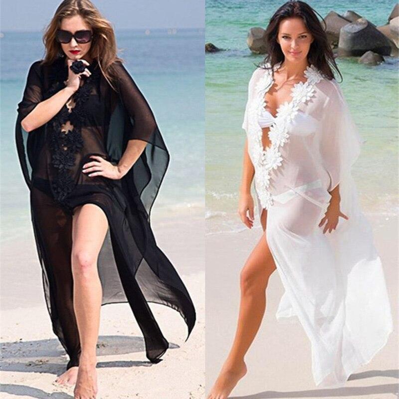 Kakaforsa 2019 Pareo Beach Cover Up Floral Kaftan Beachwear Solid Long Beach Dress Women's Chiffon Bikini Swimsuit Cover-ups
