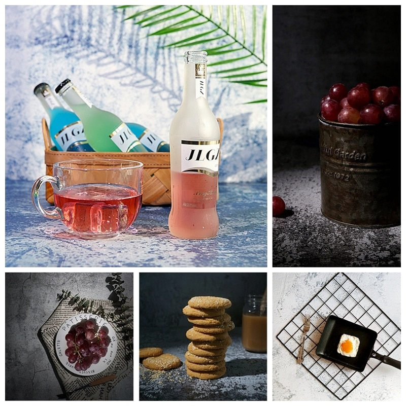 crack texture paper tabletop shooting photography backdrop for food cosmetic jewelry phone case ornaments background accessories Photography Background Paper Double-Sided Cement Texture Backdrop Studio Photo Accessories for Food Drink Cosmetic Toy Shooting