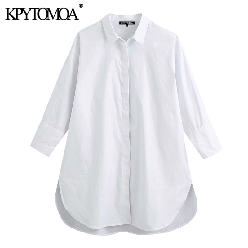 AliExpress - KPYTOMOA Women 2021 Fashion With Buttons Loose Asymmetry Blouses Vintage Long Sleeve Side Vents Female Shirts Blusas Chic Tops